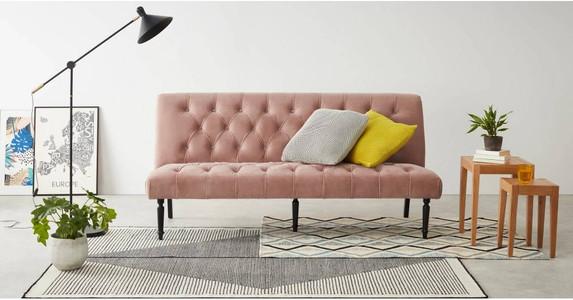 Slipper Sofa Bed, Vintage Pink Velvet. Blush pink design trend. Sofa bed