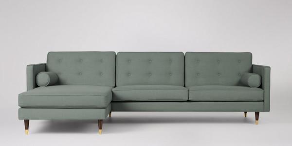 Porto Left Corner Sofa, Jade Brushed Linen-Cotton, Walnut Feet