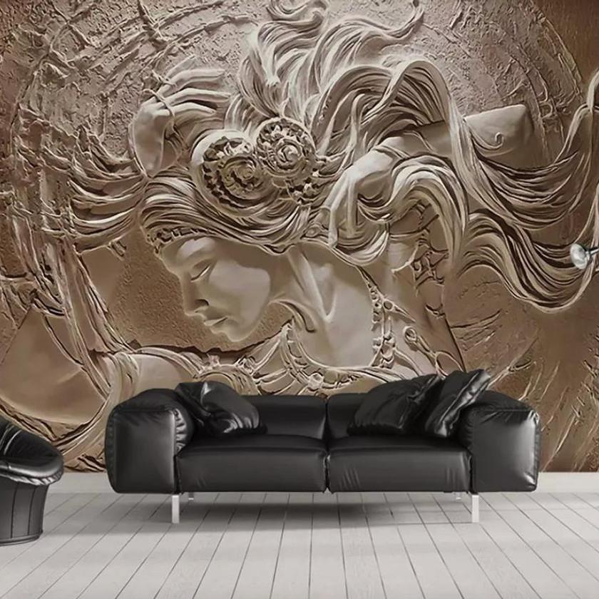 3D Embossed Cement Female Wallpaper Sculpture Art Wall Murals for Living Room