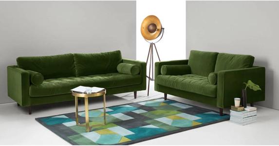 Scott 3 Seater Sofa, Grass Cotton Velvet. Living room decor. Green sofa.