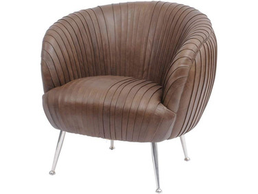 Dorigo Pleated Brown Leather Chair