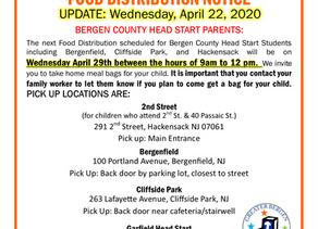Bergen County Head Start Food Distribution Schedule UPDATE - April 22