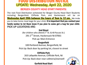 Bergen County Head Start Food Distribution Schedule UPDATE - April 22