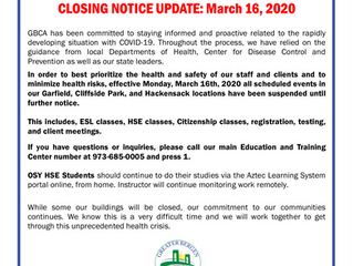 GBCA Education & Training Center Coronavirus Response - March 16, 2020 UPDATE