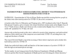 Paterson Public Schools Employee & District Volunteer Tested Positive for COVID-19; Families Who