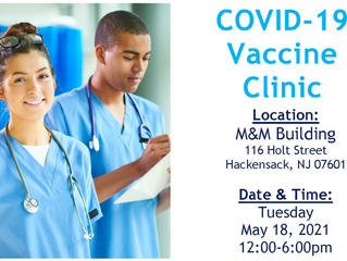 Hackensack, NJ COVID-19 Vaccine Clinic - May 18th