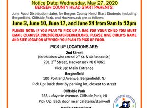 GBCA Bergen County Head Start's JUNE Food Distribution Schedule