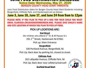 GBCA Bergen County Head Start's JUNE Food Distribution Schedule