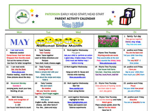 Paterson May Head Start Parent Activity Calendar: HOME EDITION