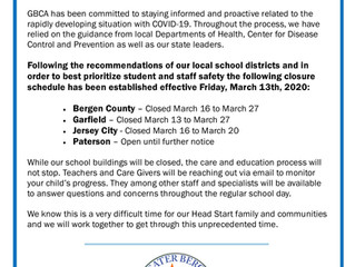 GBCA Head Start Closings - March 13, 2020