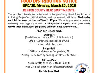GBCA's Bergen County Head Start Food Distribution Notice UPDATE - March 24, 2020