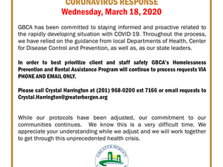 GBCA's Homelessness Prevention Program Protocol Change Due to Coronavirus - March 18, 2020