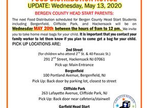 GBCA Bergen County Head Start Food Distribution UPDATE - May 13