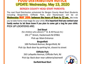 GBCA Bergen County Head Start Food Distribution UPDATE - May 13
