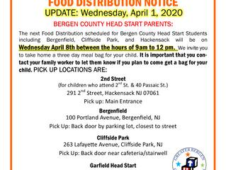 GBCA Bergen County Head Start Food Distribution Notice - April 1, 2020