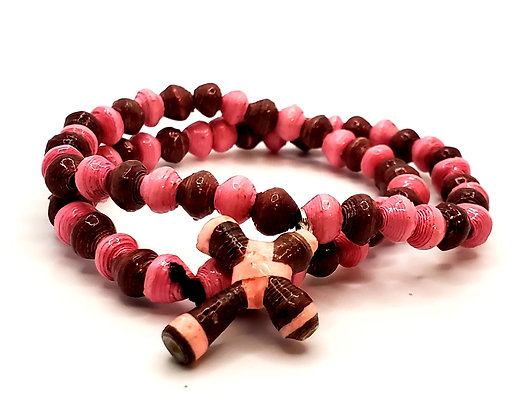 Cross Bracelet Wrist Choker Pink/Brown