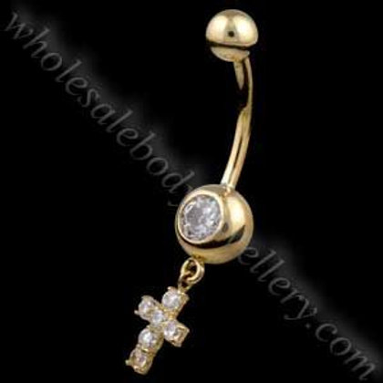 9ct Drop Cross Belly Bar (9N18)