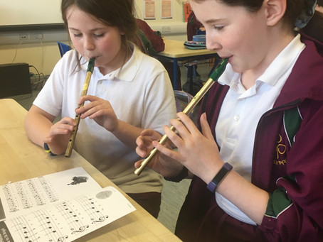 4th class are busy learning the tin whistle and we are really enjoying it!
