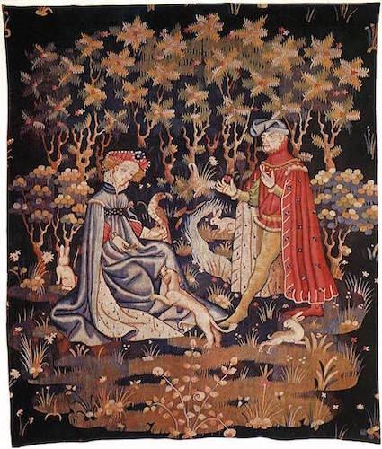 Courtly Couple in Garden of Love offerin