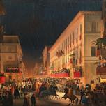 Carnival Night in via del Corso in Rome (Caffi 1845-1847)