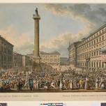 Carnival: Trajan's column in Piazza Colonna (Rome, J. Merigot 1804)