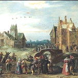 A Carnival Procession in a Village Street on Shrove Tuesday (Govert Jansz 17th c.)