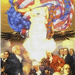 Mural of Angel of Liberty overlooking signing of U.S. Constitution