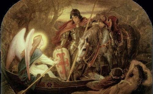 Angel rowed Sir Galahad across dern mere