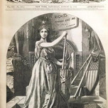 """Columbia and the Fasces (Harper's Weekly """"Reconstruction for Equal Rights,"""" Nast 1868)"""