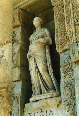 Personification of Wisdom (Koinē Greek Sophía) at Library of Celsus (Ephesus 2nd century)