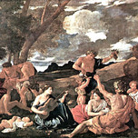 Andrians or The Great Bacchanal with Woman Playing a Lute (Poussin 1628)