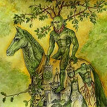 Green Man on horseback