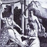 Genius of Lady's Magazine kneels before Lady Liberty