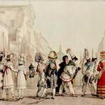 Costumes of Carnival in Via del Corso Rome (Jean-Louis Baptiste Thomas 1823)
