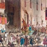 Carnival in the Via Del Campo Rome (Caffi 19th c.)
