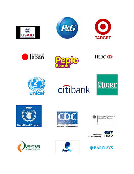 HOPE USA's supporters are Proctor & Gamble, Target, US Aid, UNICEF, Embassy of Japan, Center for Disease Control, World Food Program, Payal, Barclays Bank, HSBC, IDRF, OMV, and Asia Petroleum.