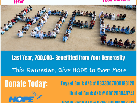 Appeal for HOPE Pakistan Donations