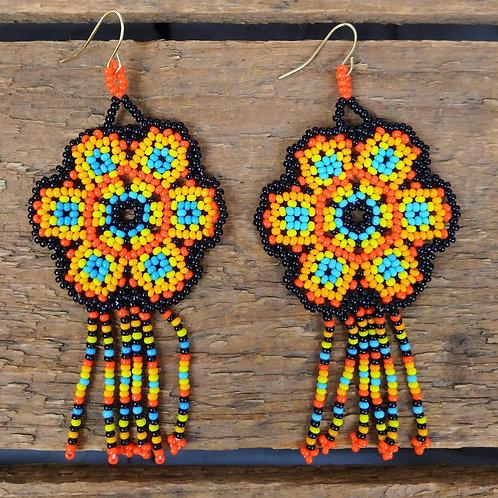 ZAD Garden Party Beadwork Flower Fringe Earrings