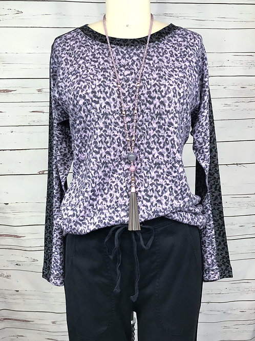 Nally and Millie Pullover in Lavender Animal Print