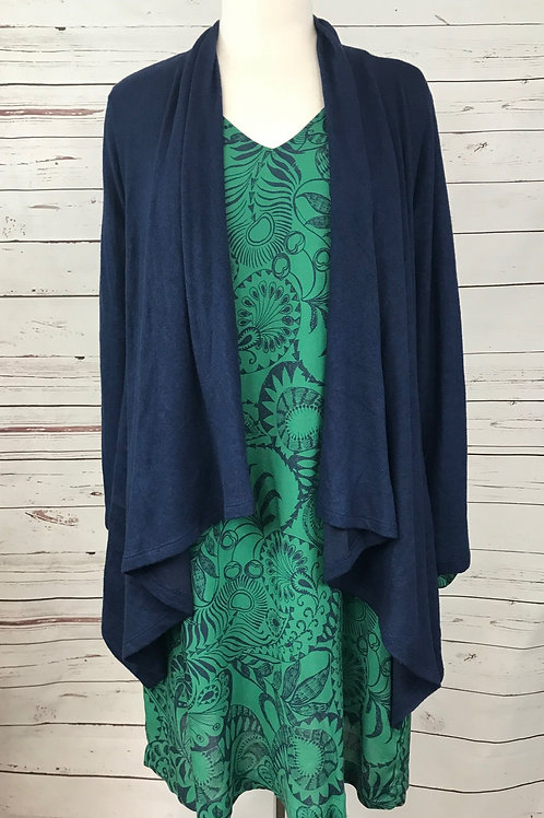 Bobeau Waterfall Cardigan in Midnight