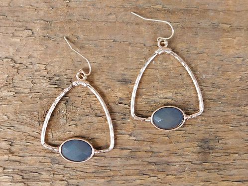ZAD Grey Stone Drop Earrings