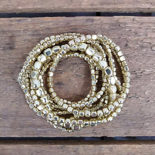 ZAD Set of 10 Metallic Bead Bracelet