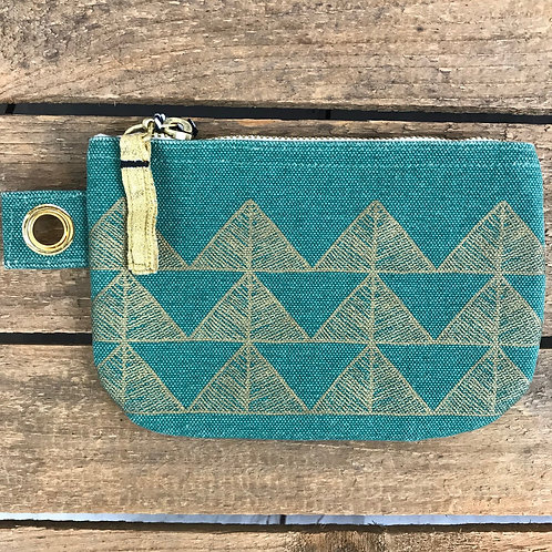 Danica Green/ Gold Zip Pouch