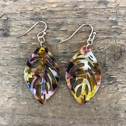 Zad Cutout Leaf Earrings Multi Amber