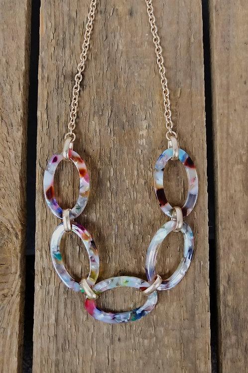 ZAD Resin Multi-Color Link Necklace