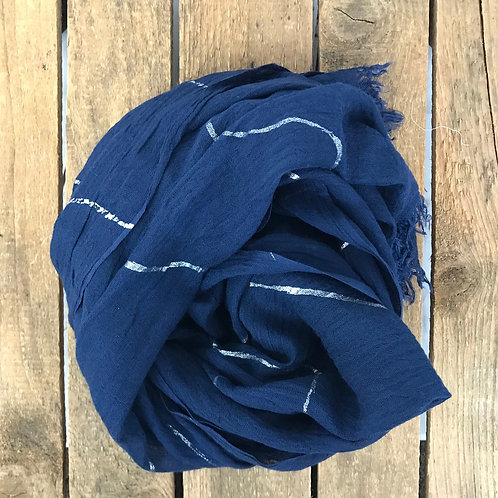 Fraas Metallic Waves Scarf Navy