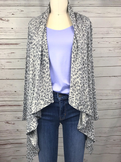 Bobeau Waterfall Cardigan in Mini Leopard Grey