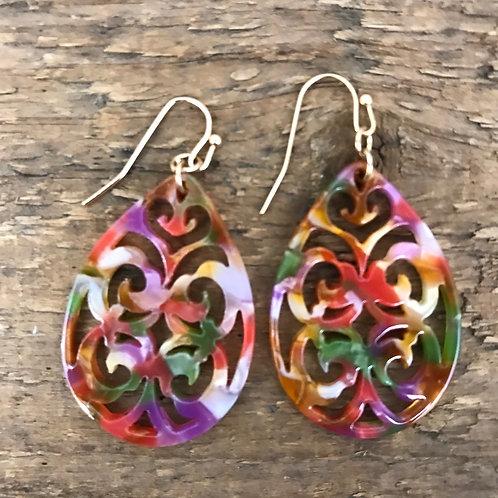 Zad Scrolling Cutout Earrings Pink/Gold