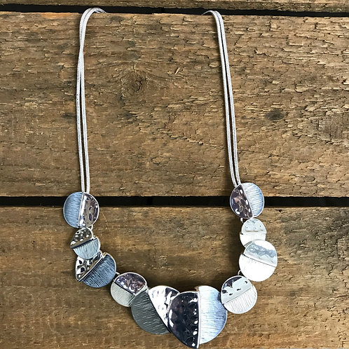 Caracol Moon Stitch Necklace in Grey