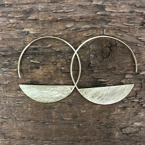 Joy Susan Moon Hoop Earrings in Gold